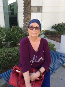 The author's mother on chemo Friday (photo is author's own and not for re-printing)